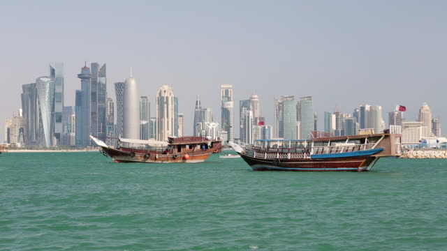 arabian peninsula and west bay central finacial district,doha, qatar, middle east - doha bildbanksvideor och videomaterial från bakom kulisserna