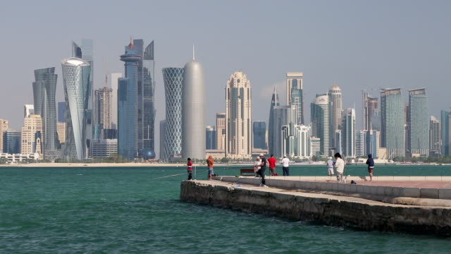 arabian peninsula and west bay central finacial district,doha, qatar, middle east - qatar stock videos & royalty-free footage