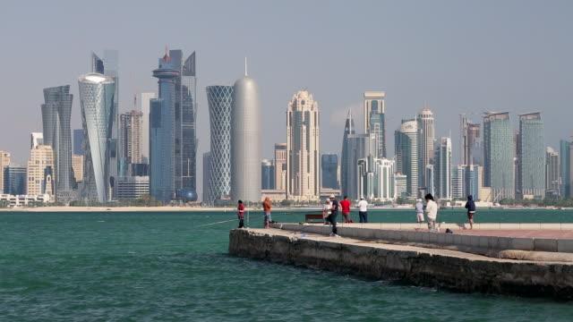 vídeos de stock, filmes e b-roll de arabian peninsula and west bay central finacial district,doha, qatar, middle east - qatar