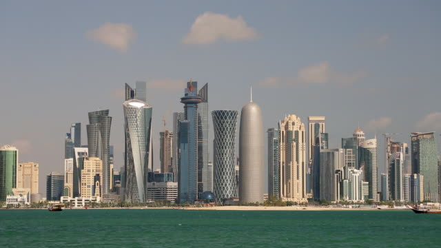 arabian peninsula and west bay central finacial district,doha, qatar, middle east - ad dawhah stock-videos und b-roll-filmmaterial