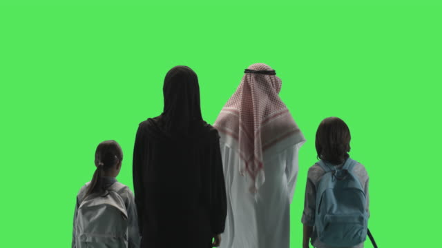 Arabic Family Walking away from camera