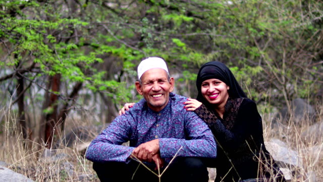 arabic father & daughter smiling portrait - pakistan stock videos & royalty-free footage