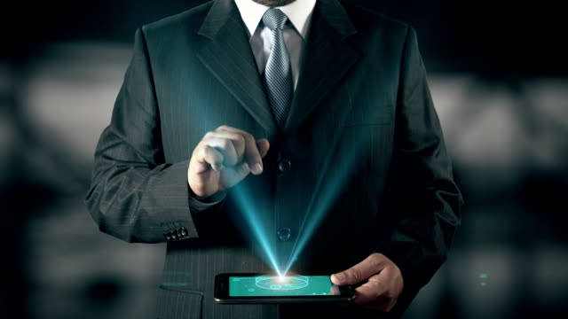 Arabic Language Choose Businessman using digital tablet technology futuristic background
