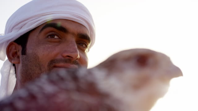 arabic man with bird of prey in desert - dish dash stock videos & royalty-free footage
