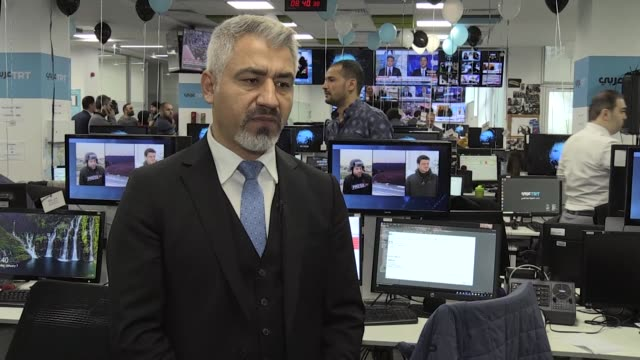 arabic's director of news resul serdar atas speaks in an interview in istanbul turkey on january 07 2019 turkey's public broadcaster trt launched its... - 2010 2019 stock videos & royalty-free footage