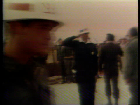 arab-israeli conflict: disengagement agreement reached; egypt: cairo-suez road: kilometre 101: line united nations peacekeeping troops r-l: troops... - audio hardware stock videos & royalty-free footage