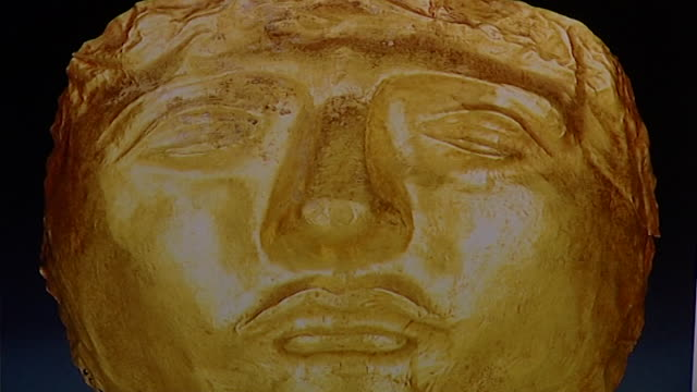 aramaic death mask. ancient death mask made of gold. - ancient stock videos & royalty-free footage