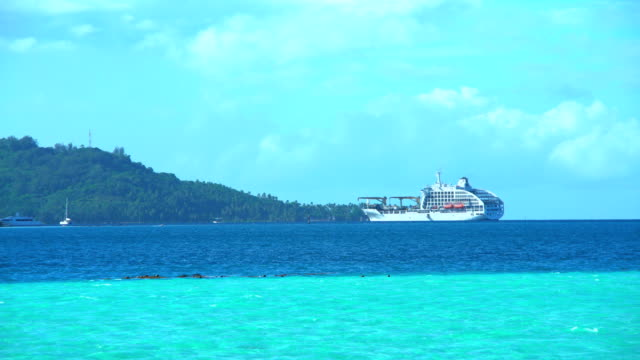 vídeos de stock, filmes e b-roll de aranui cruise cargo ship sailing from bora bora - coral cnidário