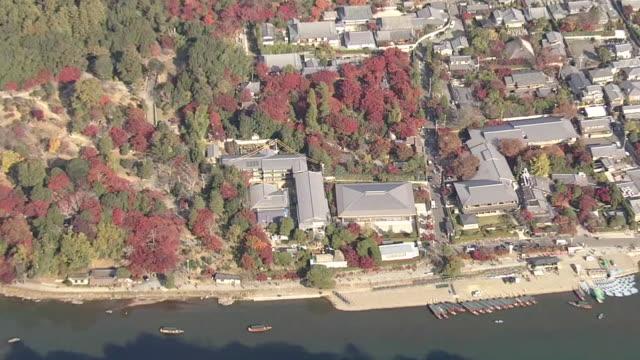 aerial, arashiyama and sagano area, kyoto, in foliage season - chan buddhism stock videos & royalty-free footage
