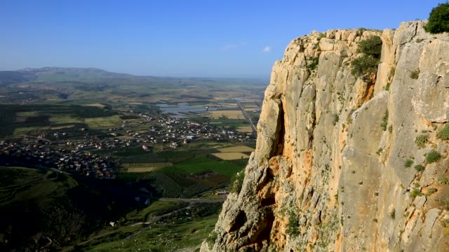 Arbel cliff with the Sea of Galilee in the background, Lower Galilee, Israel