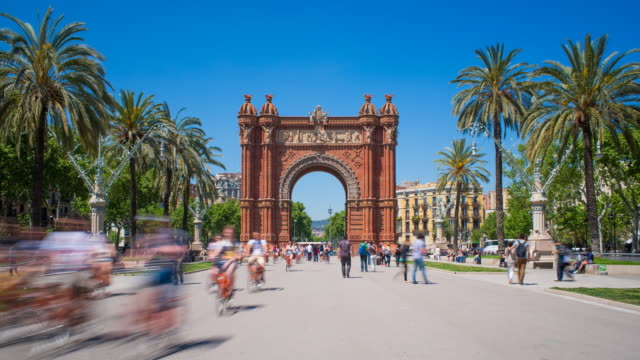 Arc de Triomf, triumphal arch, Barcelona, Spain, Iberian Peninsula, Europe - Time lapse