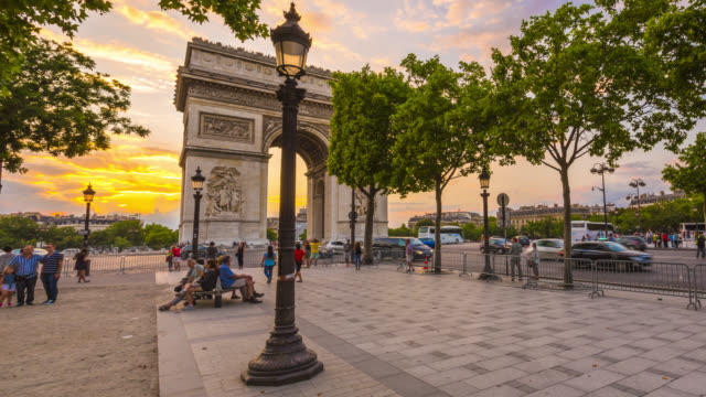 arc de triomphe and avenue des champs elysees in paris. - avenue des champs elysees stock videos & royalty-free footage
