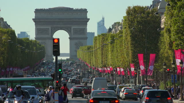 arc de triomphe and champs-elysees, paris, france, europe - france stock videos & royalty-free footage