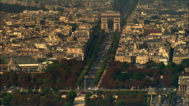 AERIAL Arc de Triomphe and traffic/ Paris, France