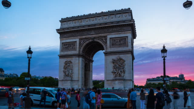 arc de triomphe at dusk, tl, ws - triumphal arch stock videos & royalty-free footage