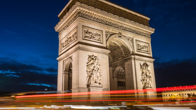 arc de triomphe at night time lapse - arc de triomphe stock videos and b-roll footage