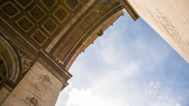 arc de triomphe at the end of avenue des champs-elysees in paris - french revolution stock videos & royalty-free footage