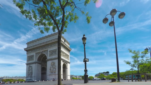 arc de triomphe in paris. - triumphal arch stock videos & royalty-free footage