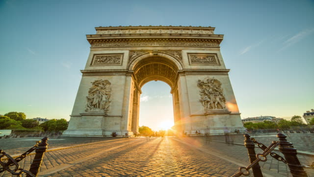 arc de triomphe time-lapse - paris france stock videos and b-roll footage