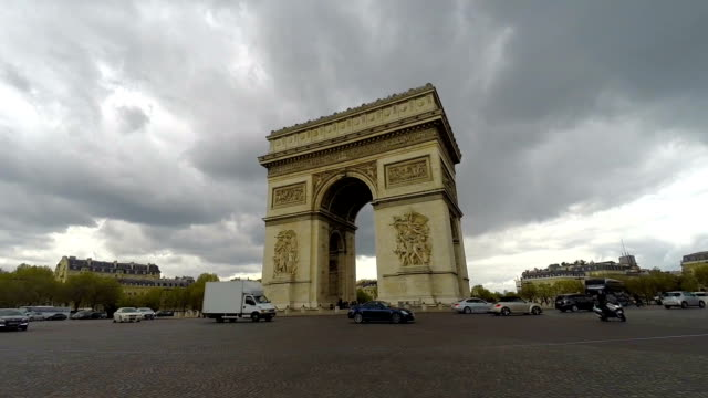 Arc De Triomphe Traffic Roundabout in Paris France