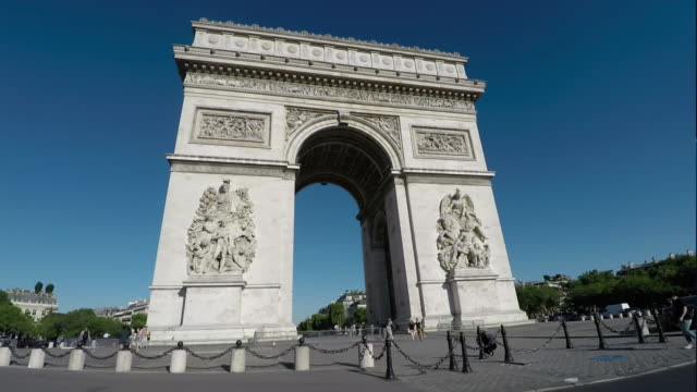 Arc De Triomphe,Paris. Tracking shot from vehicle. Slow-Motion.