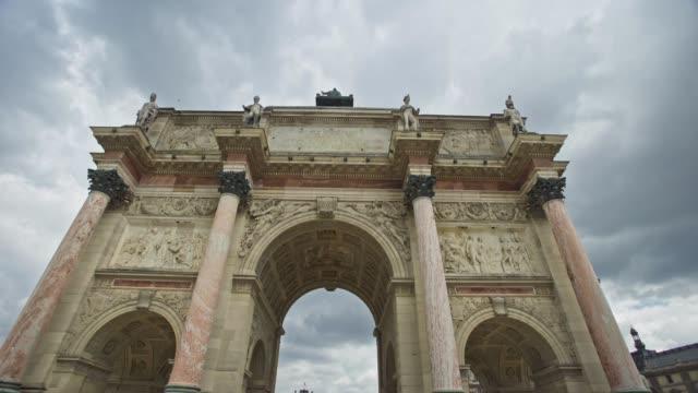 arc de triumph du carrousel, paris, france - arch stock videos & royalty-free footage