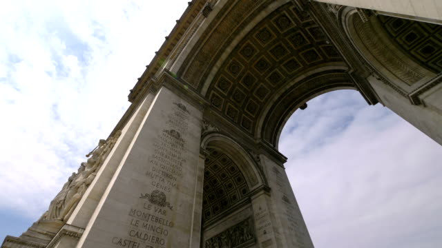 arc de triumph in paris france in slow motion - triumphal arch stock videos & royalty-free footage