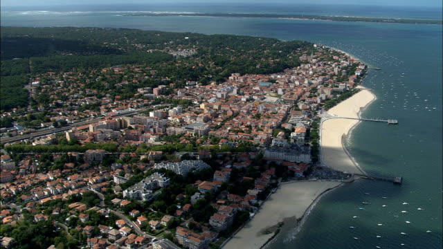 arcachon and bay  - aerial view - aquitaine, france - arcachon stock videos and b-roll footage