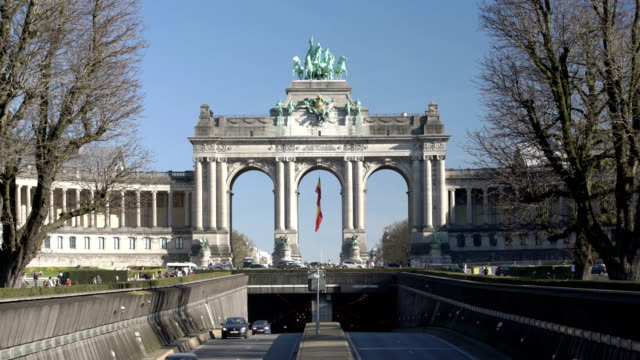 arcade du cinquantenaire - arch architectural feature stock videos and b-roll footage