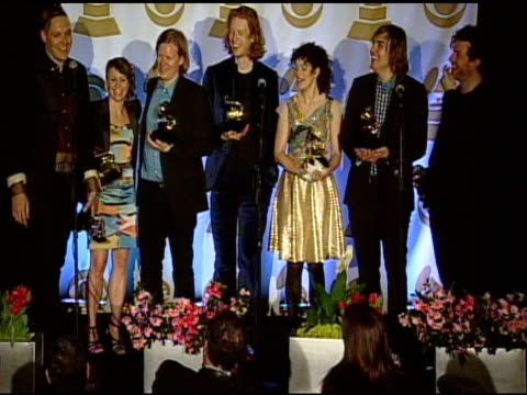 arcade fire on the grammy awards and their music at the 53rd grammy awards press room at los angeles ca - arcade fire stock videos & royalty-free footage