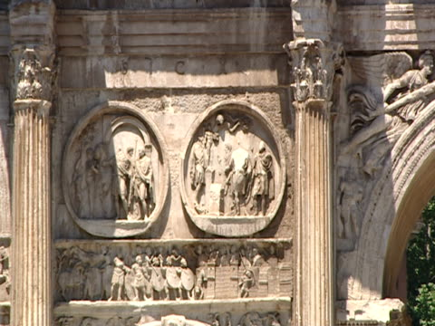 cu, pan, arch of constantine, rome, italy - arch of constantine stock videos and b-roll footage
