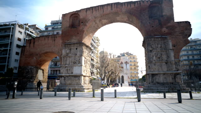 arch of galerius in thessaloniki - thessalonika stock videos & royalty-free footage