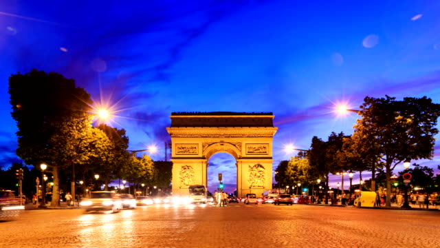arch of triumph and champs elysees - arc de triomphe paris stock videos & royalty-free footage