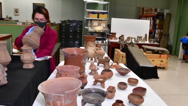 archaeological pieces at the national museum of costa rica recovered 1,305 pieces of pre-columbian art that had been taken from the country since the... - costa rica stock videos & royalty-free footage