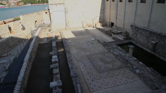 archaeological remains of the basilica, euphrasius basilica, porec - mosaic stock videos & royalty-free footage