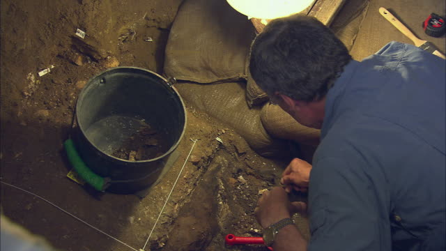 ha archaeological researcher uncovering a fossil in the blombos cave / south africa - discovery stock-videos und b-roll-filmmaterial
