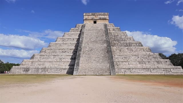 archaeological site kukulkan / el castillo , mayan pyramid chichen itza in mexico - pre columbian stock videos and b-roll footage