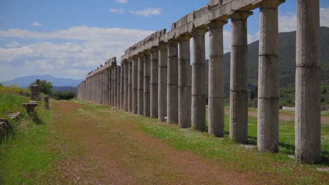 archaeological site of ancient messene , ruins of colonnade from the stadion , near kalamata , messina - peloponnes - greece - ancient greece stock videos & royalty-free footage