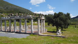 Archaeological site of Ancient Messene , Ruins of Doric style Stoa portico , near Kalamata , Messina, Messinia, Peloponnes, Greece