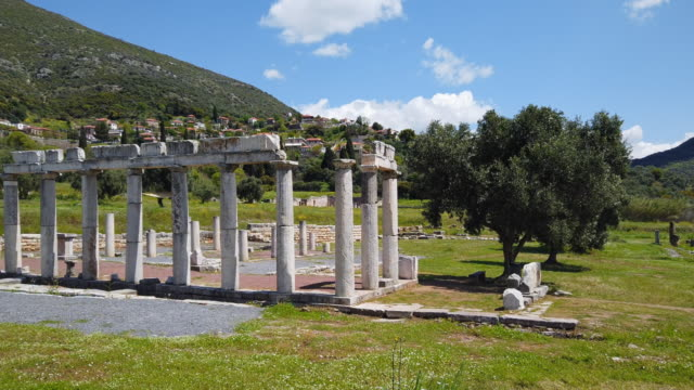 archaeological site of ancient messene , ruins of doric style stoa portico , near kalamata , messina, messinia, peloponnes, greece - greece stock videos & royalty-free footage