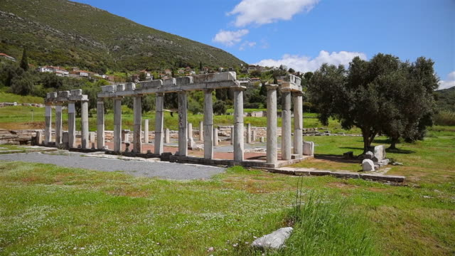 archaeological site of ancient messene , ruins of doric style stoa portico , near kalamata , messina, messinia, peloponnes, greece - 3rd century bc stock videos & royalty-free footage