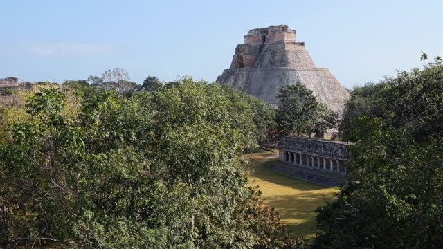 Archaeological site of complex of Uxmal - the Ballcourt , Pyramid of the Magician and The Nunnery Quadrangle - Maya culture in Mexico