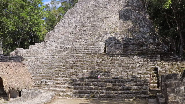Archaeological sites of Pyramid of La Iglesia in Maya ruin complex of Cobá an Mayan step pyramid in Mexico
