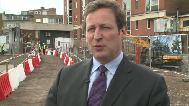 archaeologists begin excavation of the curtain theatre in shoreditch ed vaizey mp interview sot various shots of workers at site of archaeological... - heather stock videos & royalty-free footage