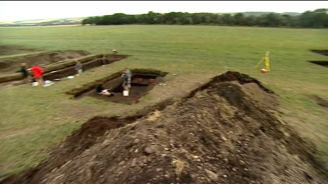 archaeologists discover prehistoric home in scarborough archaeologists working at site and using brushes to remove layers of mud - scarborough inghliterra video stock e b–roll