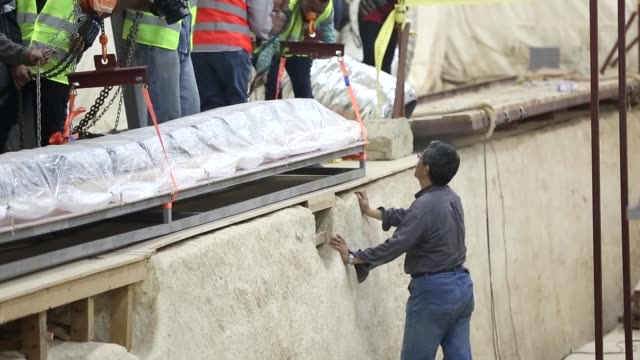 archaeologists work on the restoration of khufu's second solar boat which was found during an excavation work near the great pyramid of giza at a... - archaeologist stock videos & royalty-free footage