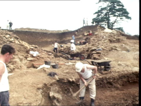 vidéos et rushes de camelot excavations:; england: somerset: cadbury castle: ext man scrapes earth which covers roof timbers of guard chambers ditto tms ditto part of... - archéologie
