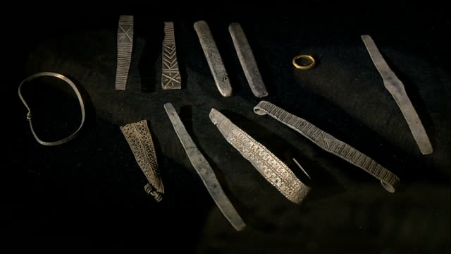 hoard of viking artifacts found in scotland scotland edinburgh int various of viking artefacts found by derek mclennan when he used his his metal... - galloway scotland stock videos & royalty-free footage