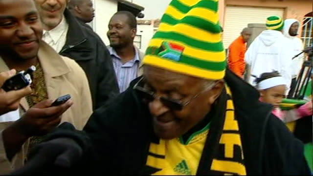 archbishop desmond tutu retires from public life t11061006 / tx soweto tutu jumping up and down and whooping sot - soweto stock videos and b-roll footage