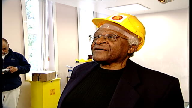 Archbishop Desmond Tutu visits St Luke's Hospital in London Archbishop Demond Tutu speaking to press SOT talking about St Luke's and treatment pays...